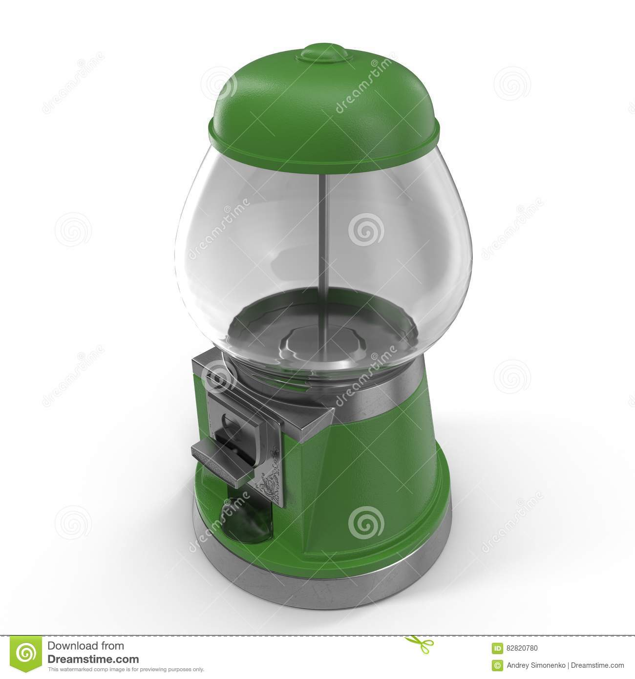 Bubble Gum Vending Machine Isolated Over White Green