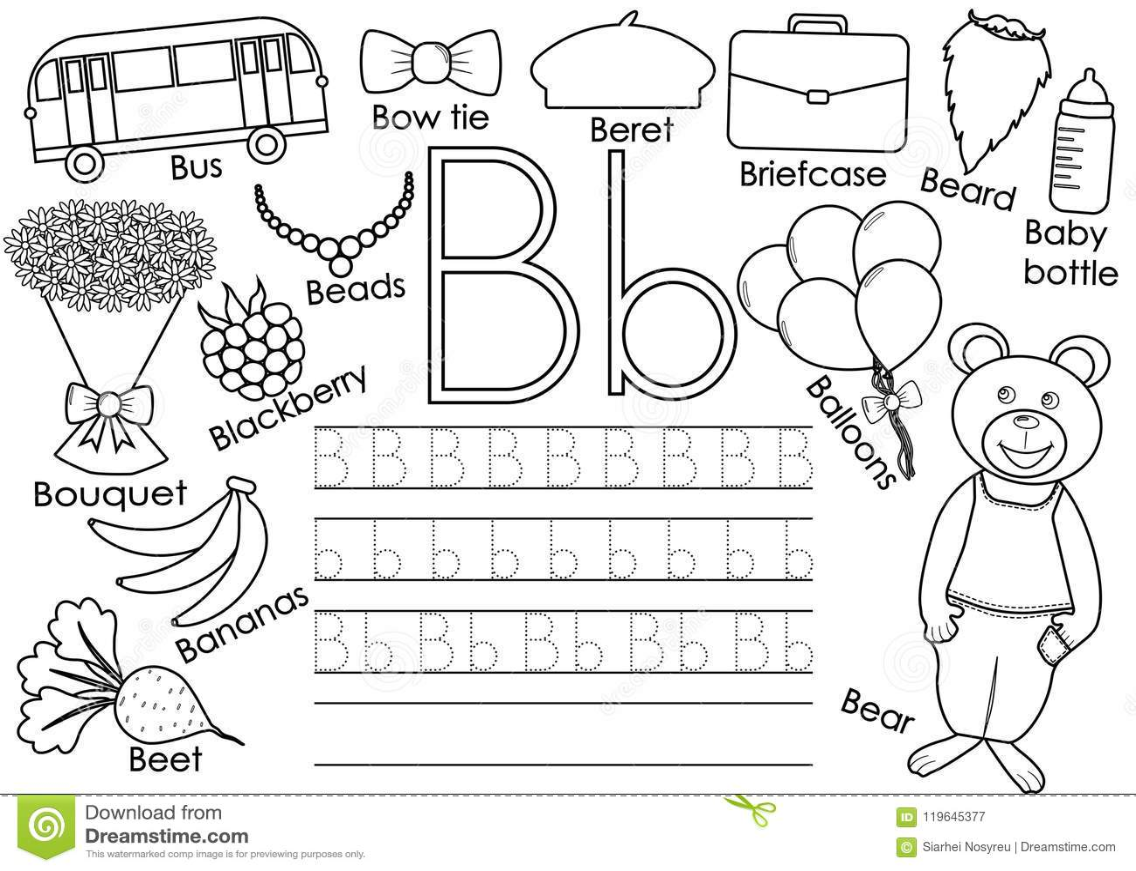 Buchstabe B Englisches Alphabet Schreibenspraxis Fur