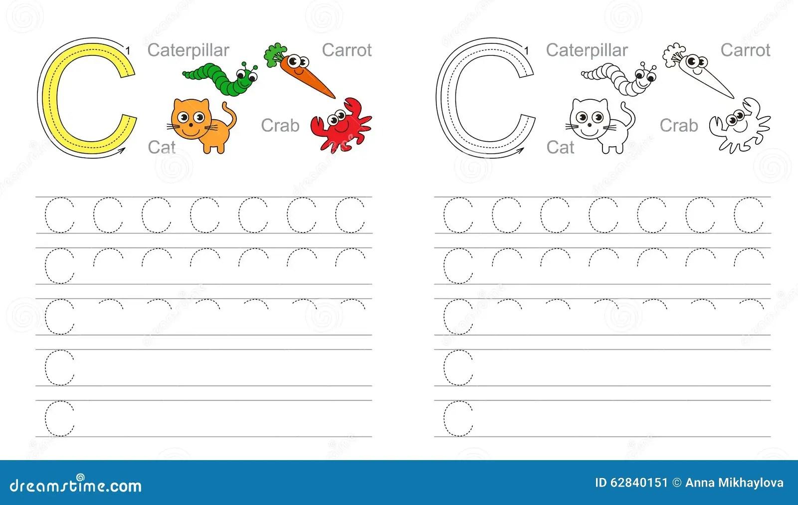 Buchstabe C Lernen Sie Handschrift Vektor Abbildung