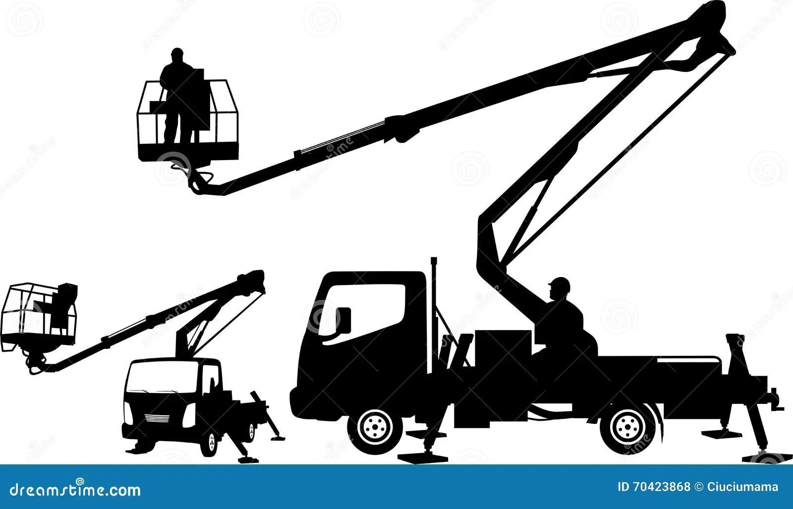 Bucket Truck Silhouettes Stock Vector Illustration Of