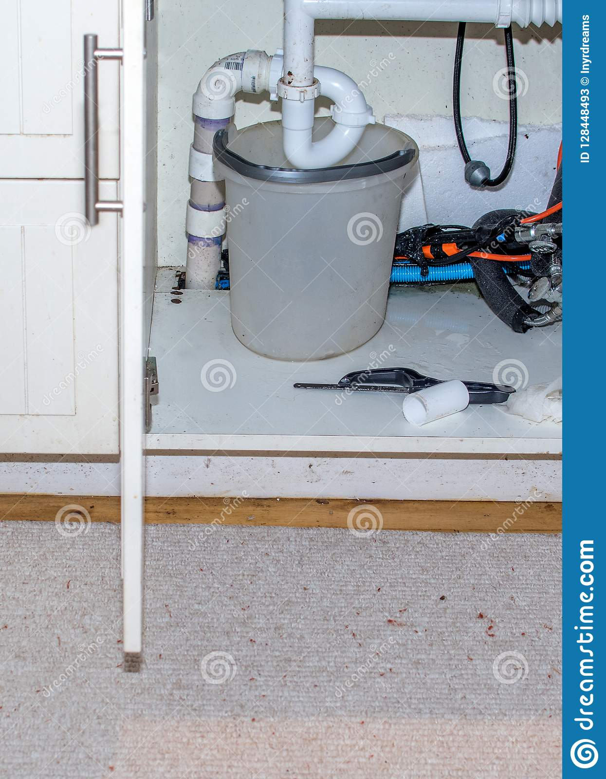 https www dreamstime com bucket under pipe leaking sink bucket under pipe leaking sink tools close to fix image128448493