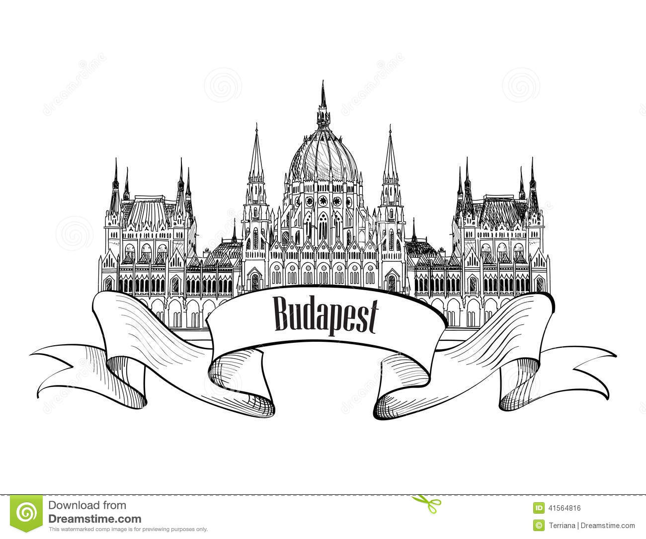 Budapest Parlament Building Stock Vector