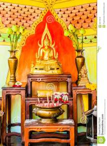 Buddha Altar In Budhist Temple Stock - Of