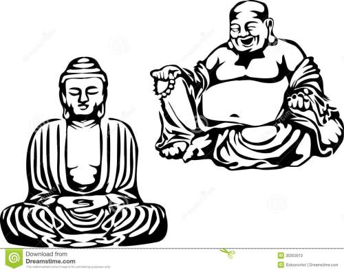 small resolution of buddha black and white illustration of the meditating buddha and smiling buddha royalty free illustration