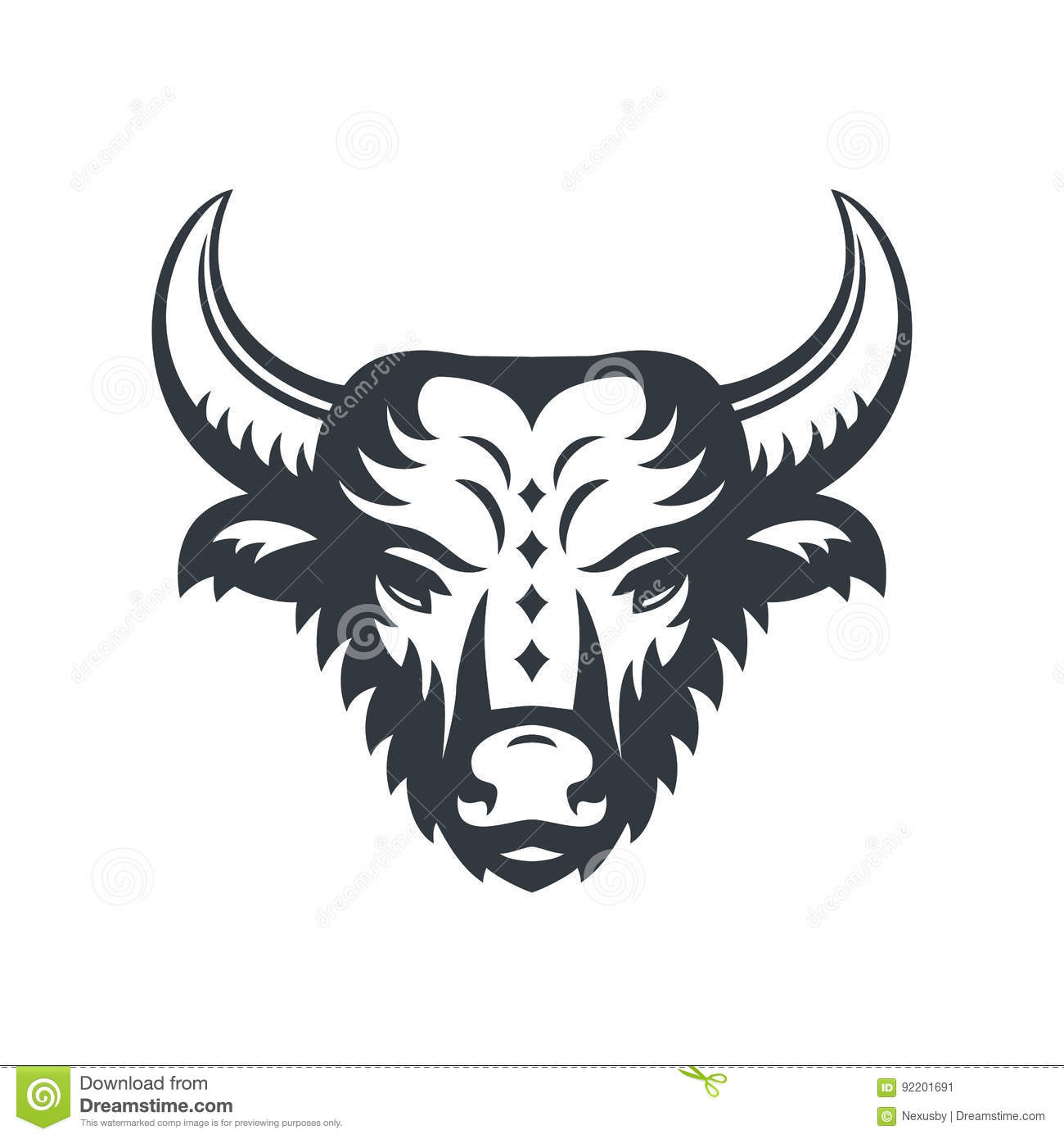 Buffalo Head Logo Element Over White Stock Vector