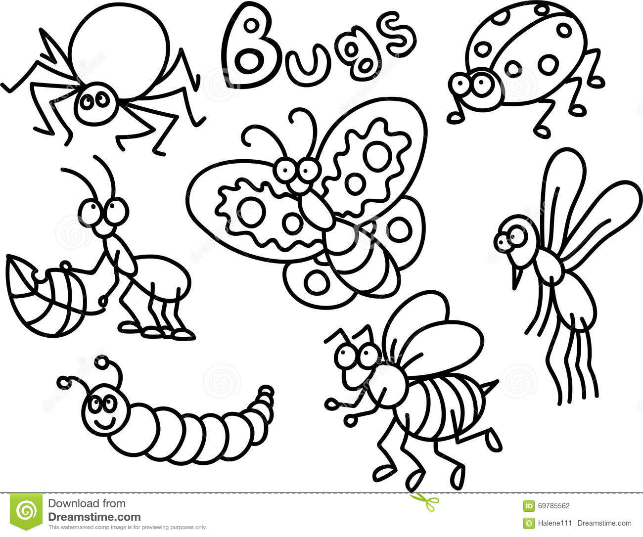 Bugs Coloring Page Stock Illustration Illustration Of