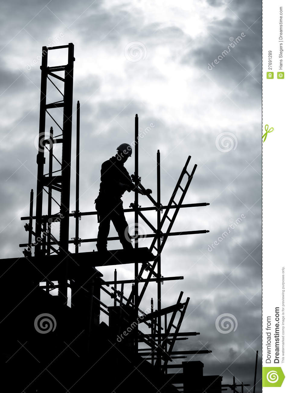 Builder On Scaffold Building Site Royalty Free Stock Images  Image 27691289