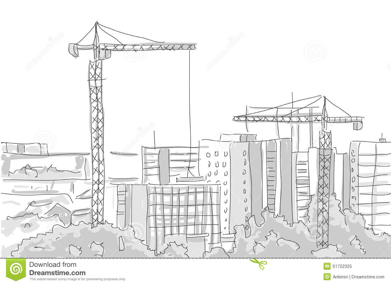 Building Construction Tower Crane Draw Graphic Design