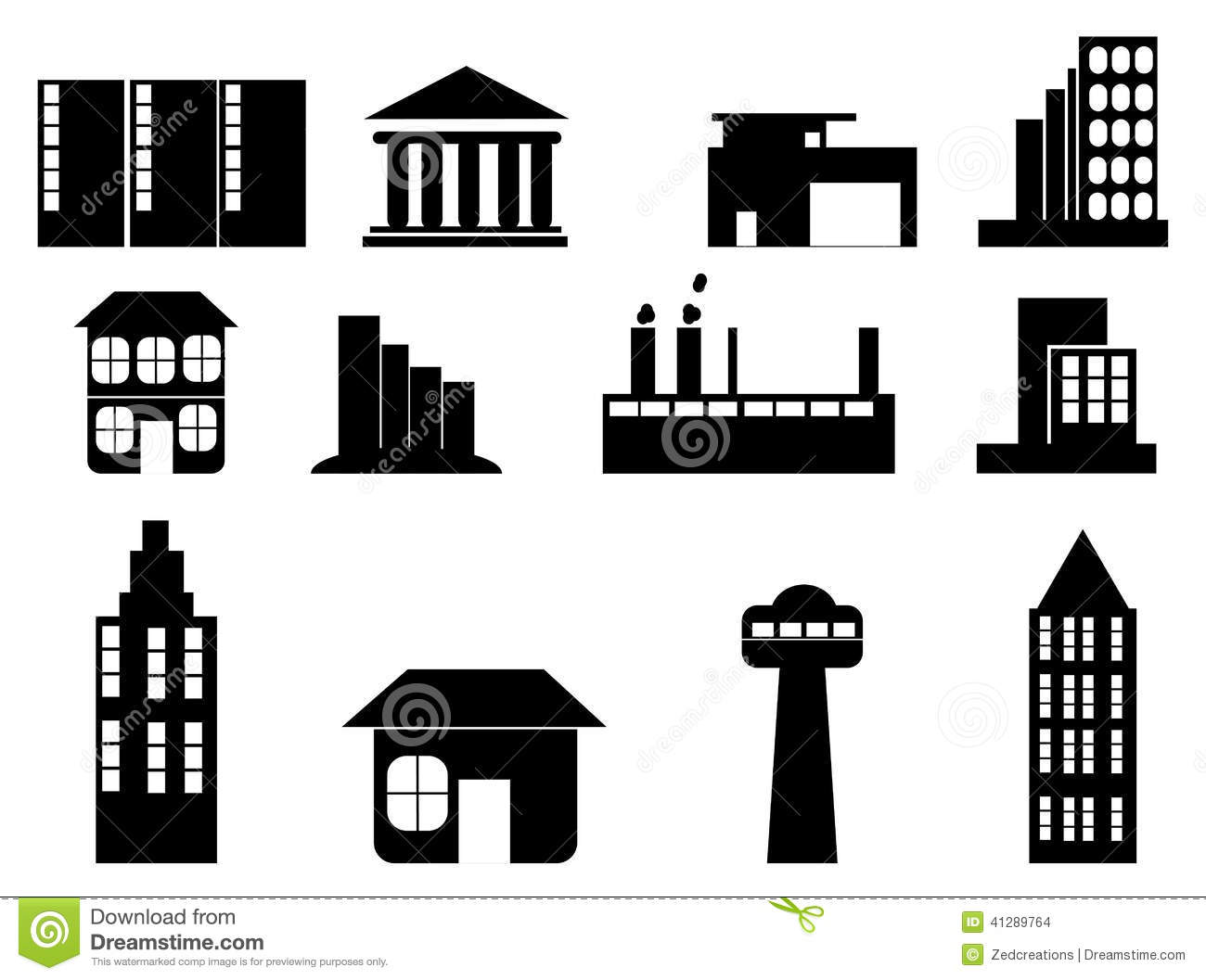 Building Icon Set Stock Vector