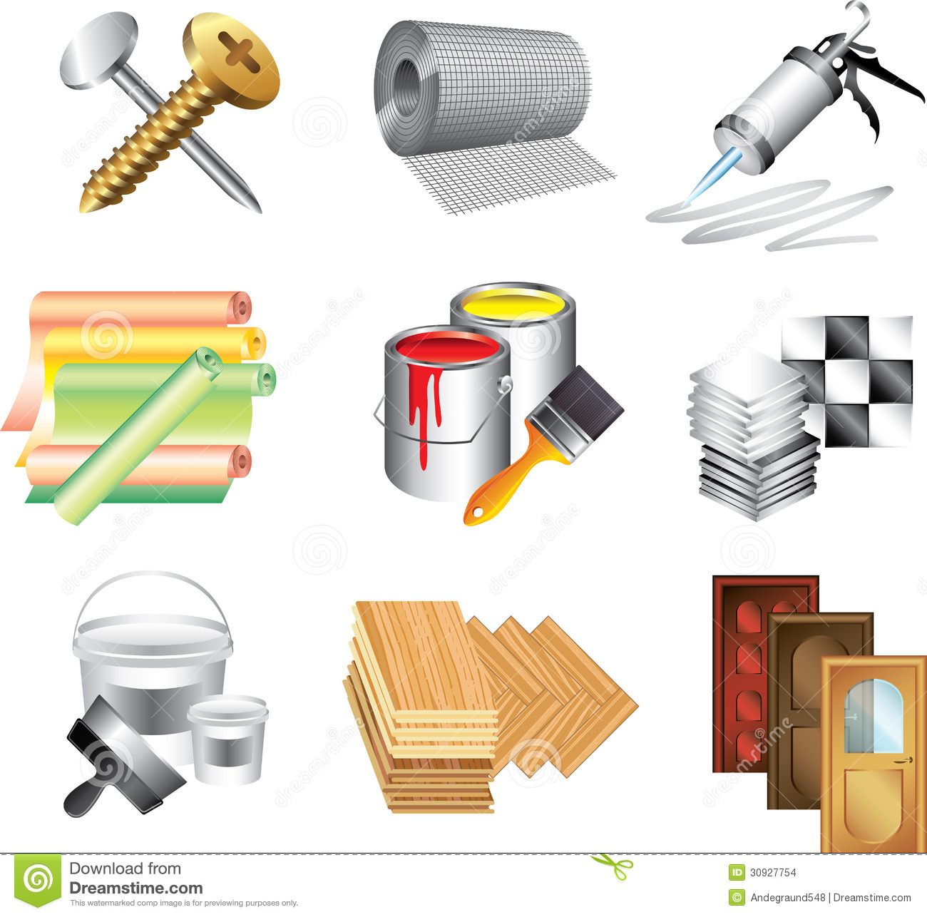 Building Materials Icons Stock Images