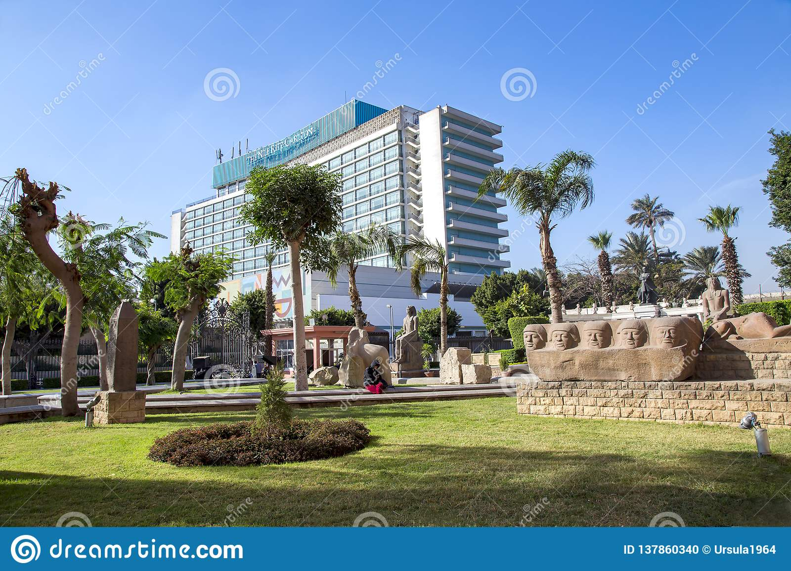 Building Of Modern Hotel The Nile Ritz Carlton Editorial