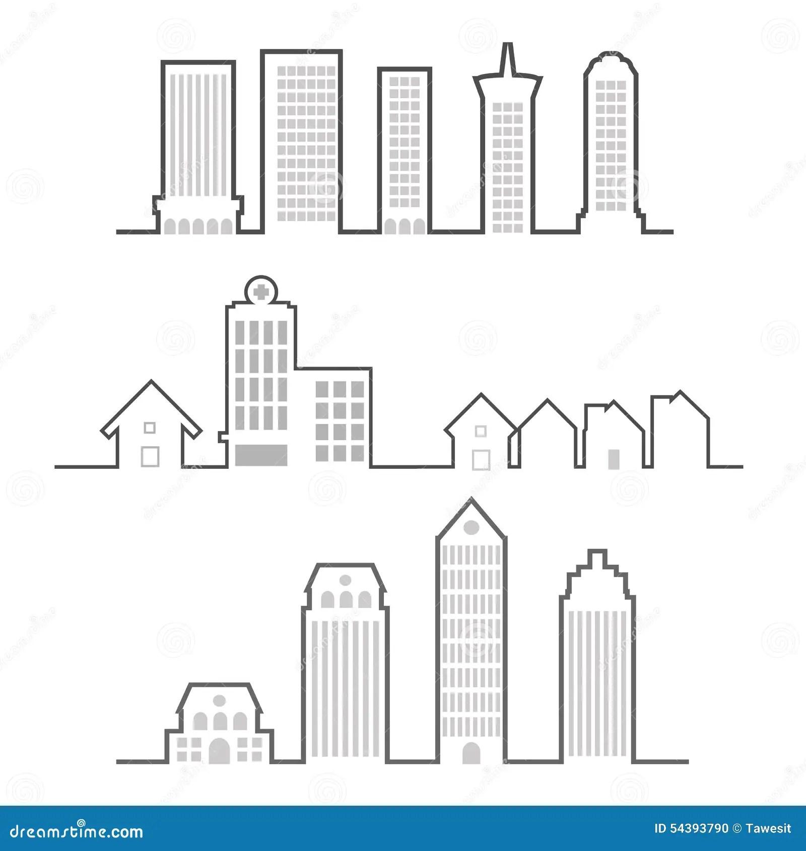 Building outline stock vector. Illustration of skyline