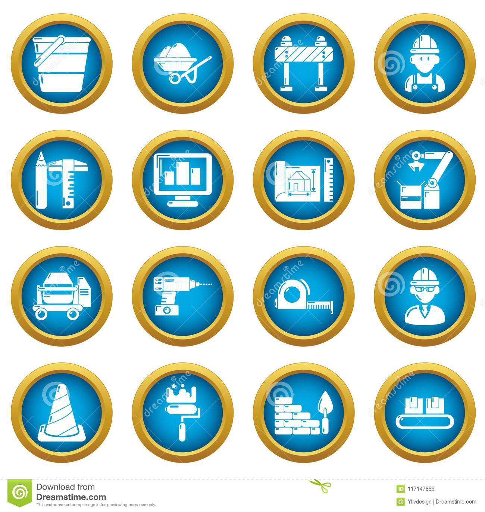 building process icons set