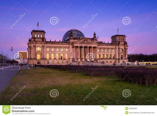 Building Of Reichstag Bundestag Berlin Stock
