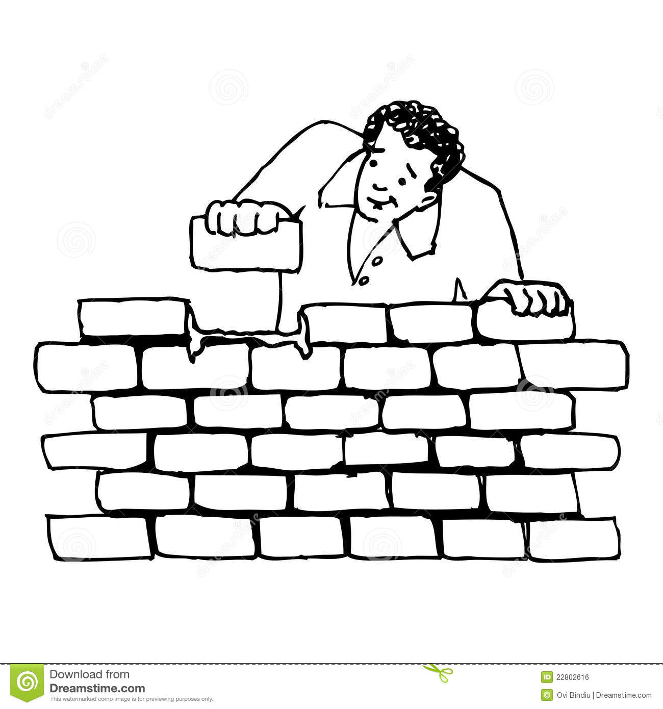 Building a wall stock illustration. Illustration of work