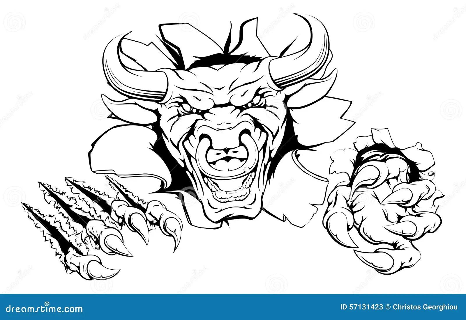Bull mascot breakthrough stock vector. Illustration of