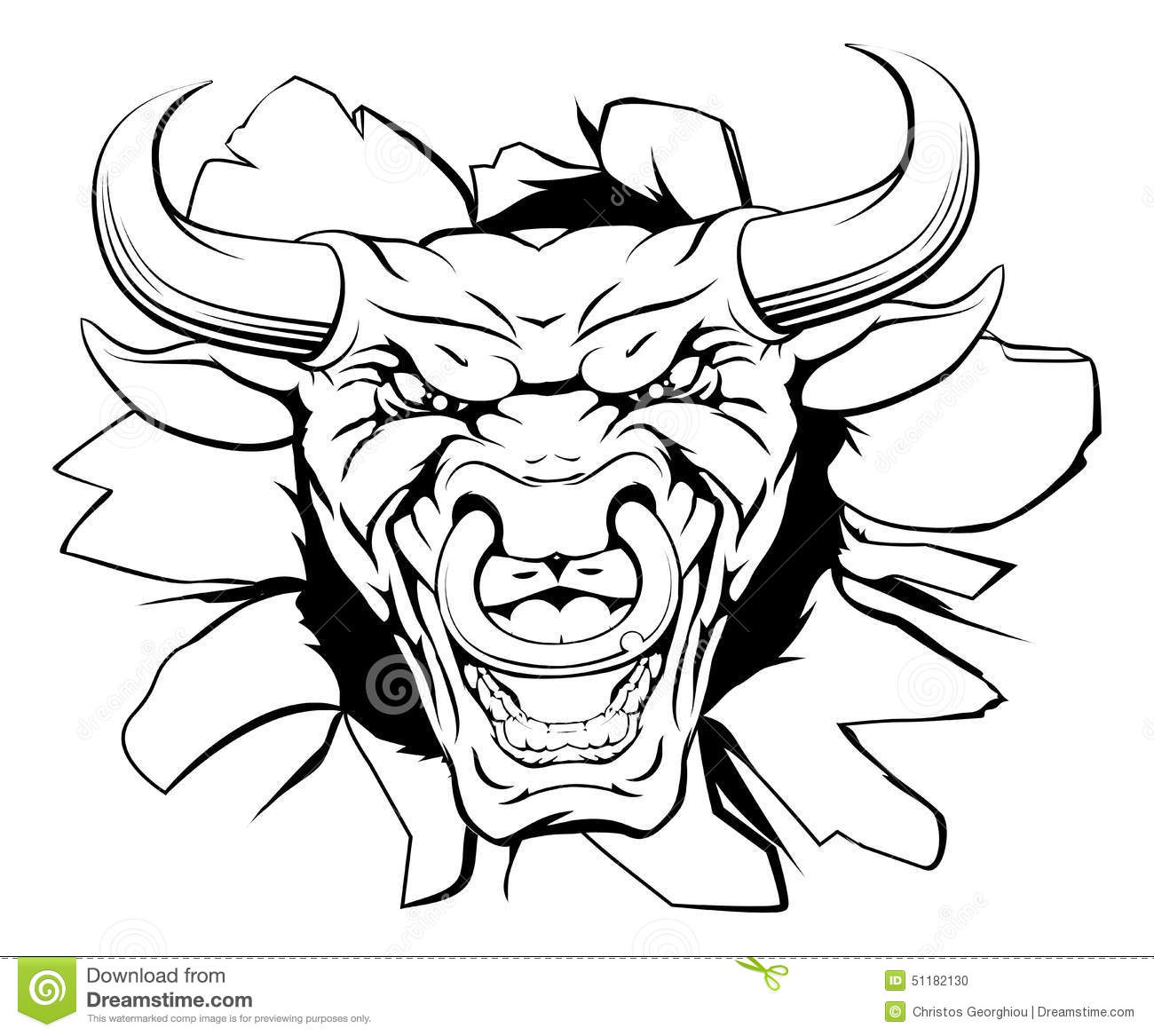 Bull mascot smashing out stock vector. Image of mascot