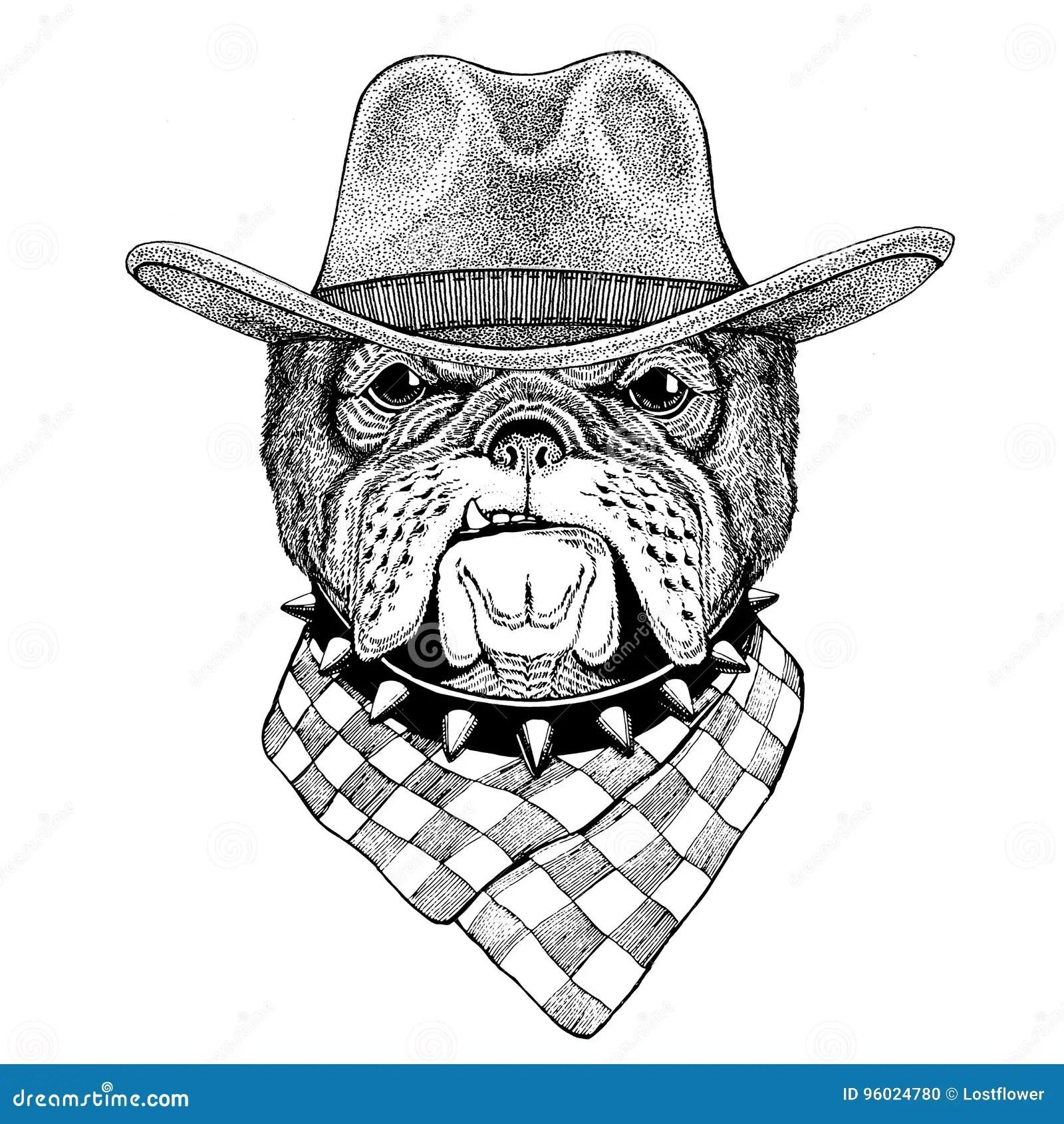 Bulldog Wild Animal Wearing Cowboy Hat Wild West Animal