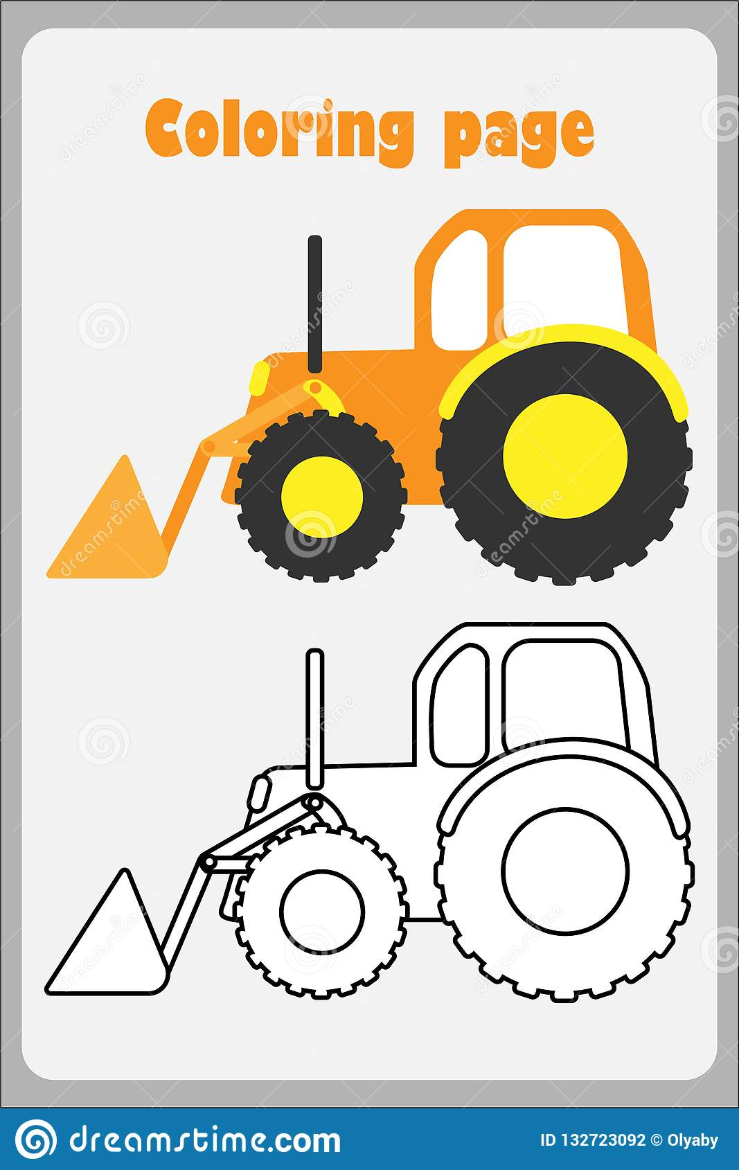 Bulldozer In Cartoon Style Coloring Page Education Paper