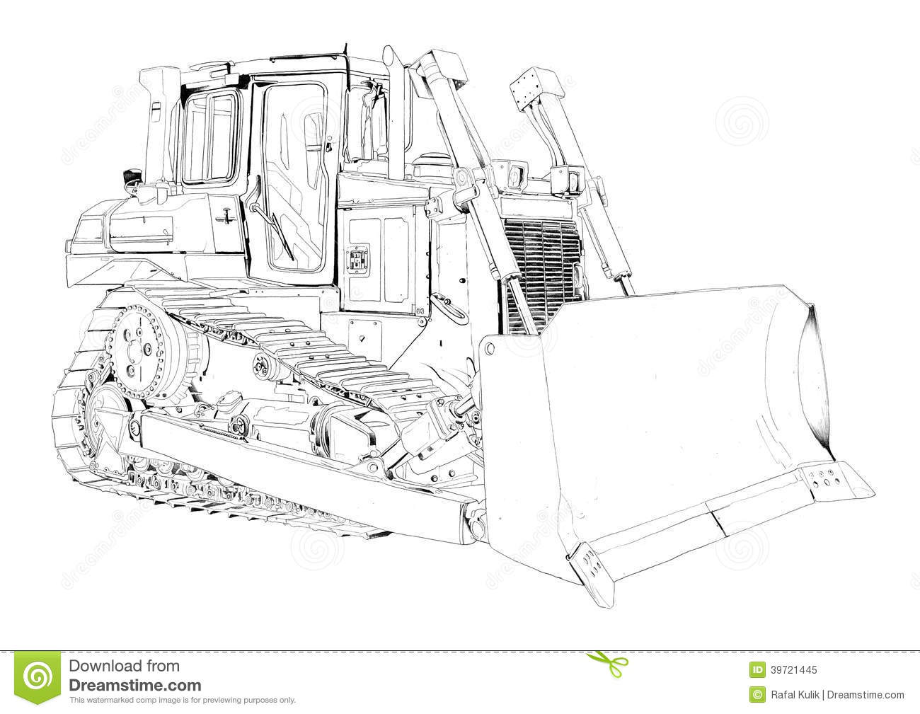 Bulldozer Illustration Art Drawing Stock Illustration