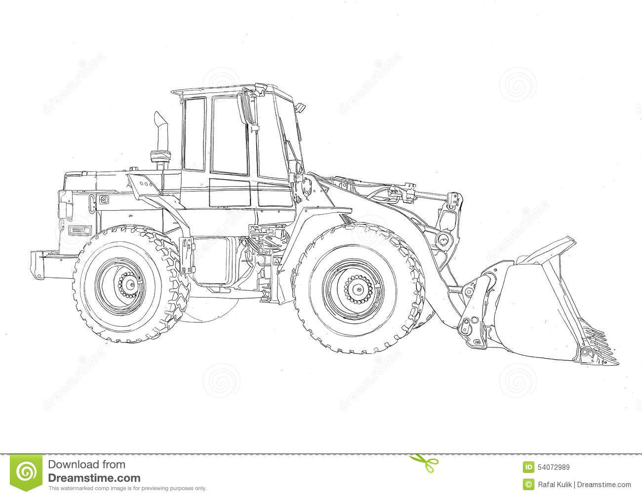 Bulldozer Illustration Art Drawing Sketch Stock