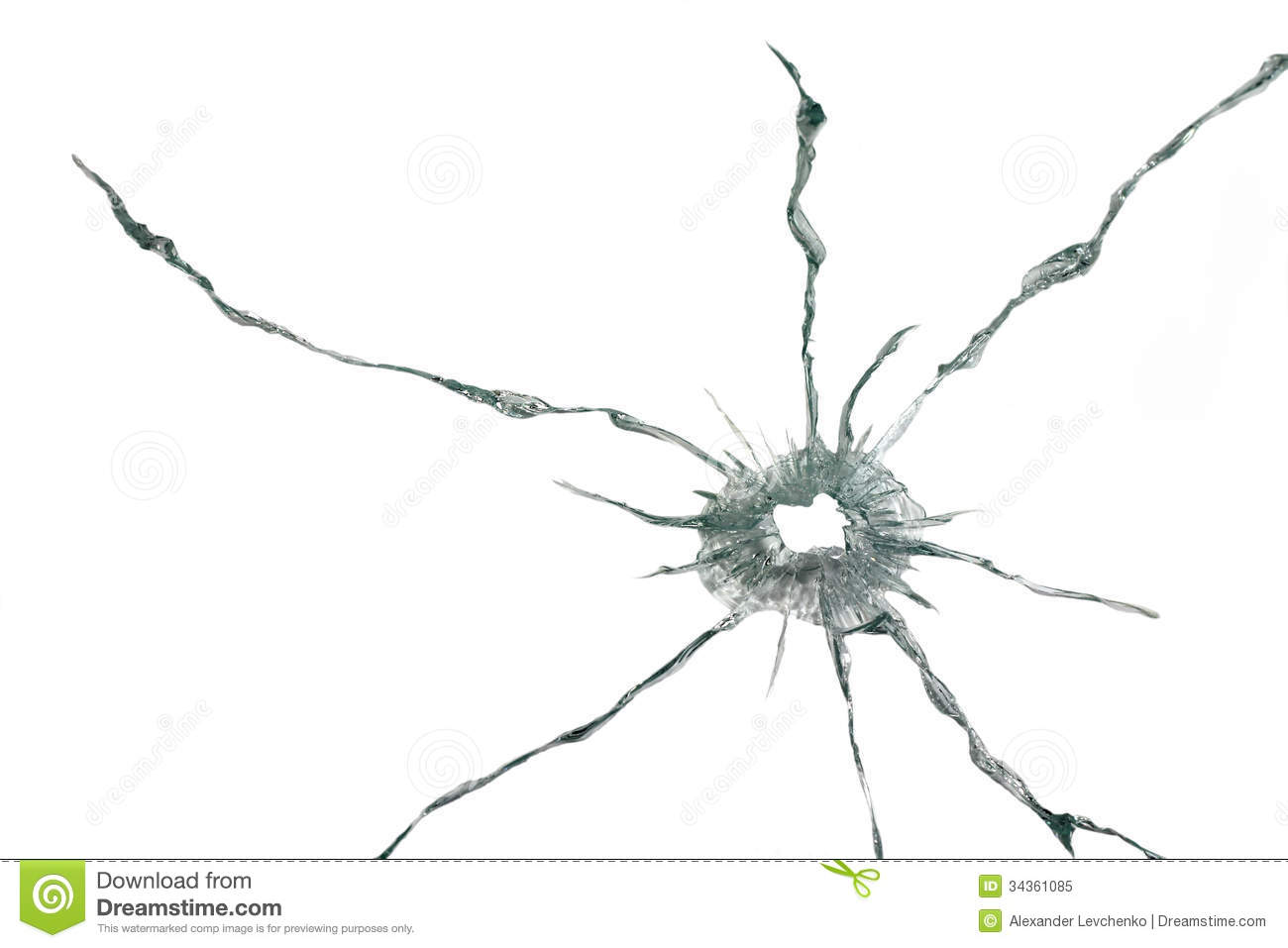 Bullet Hole In A Thick Glass Royalty Free Stock Photo