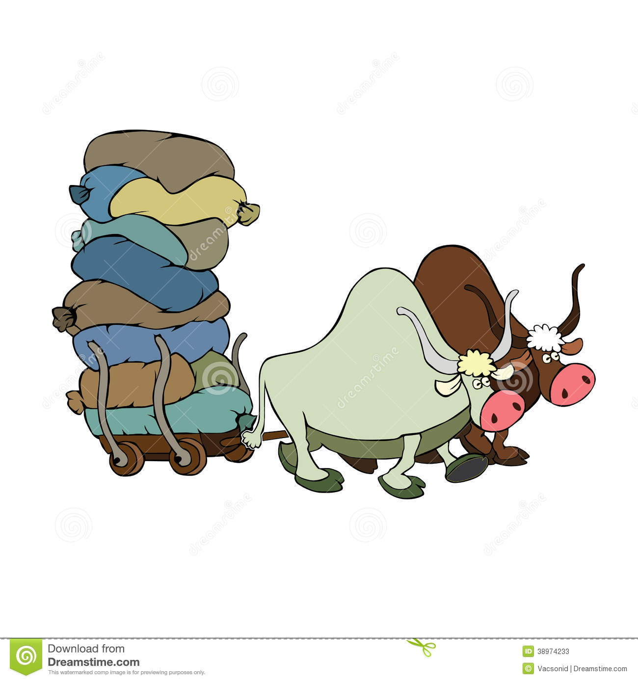 Bulls Pulling A Cart With Goods Stock Vector - Illustration of beef. oxen: 38974233