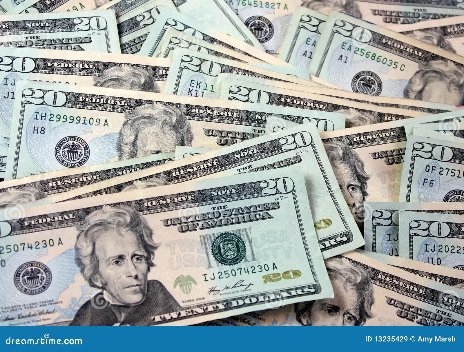 Bunch Of 20 Dollar Bills Stock Image Image Of Finance