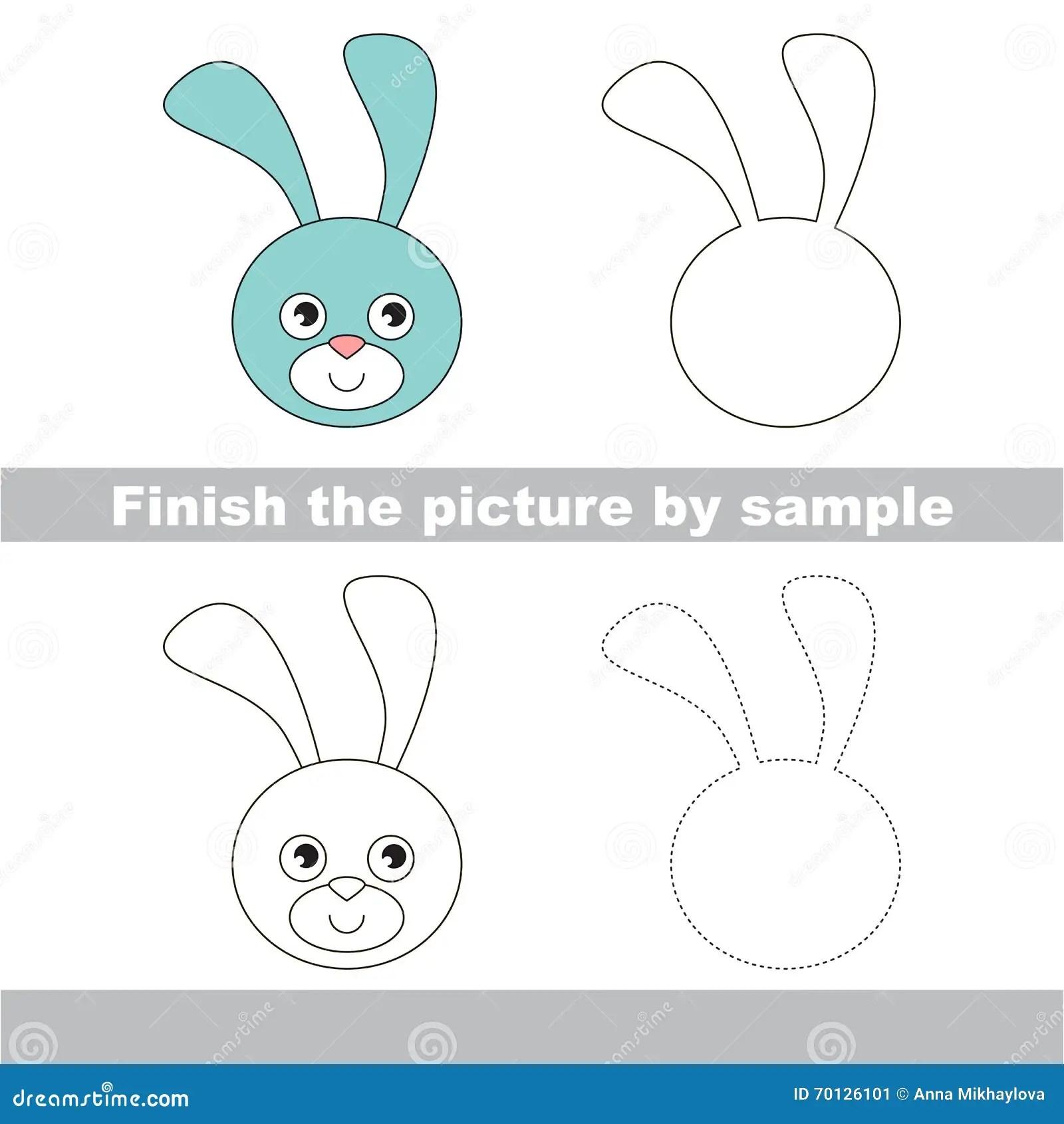 Bunny Head Drawing Worksheet Stock Vector