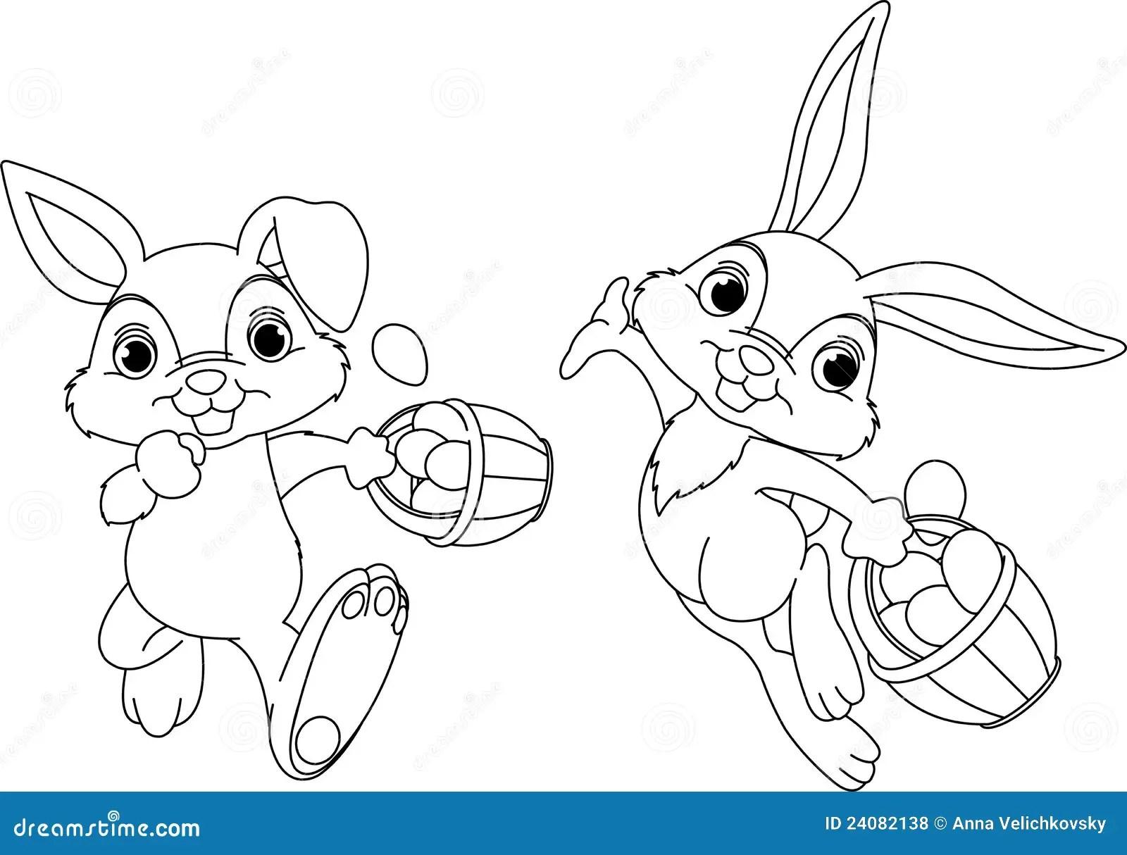 Bunny Hiding Eggs Coloring Page Royalty Free Stock Photos