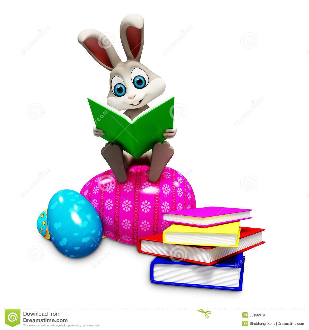 Bunny Sitting On Egg Amp Reading A Book Stock Illustration