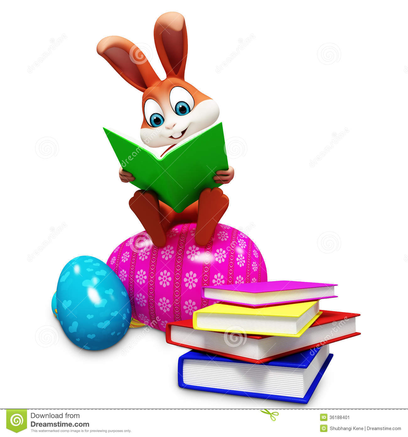 Bunny Sitting On Egg Amp Reading A Book Stock Image