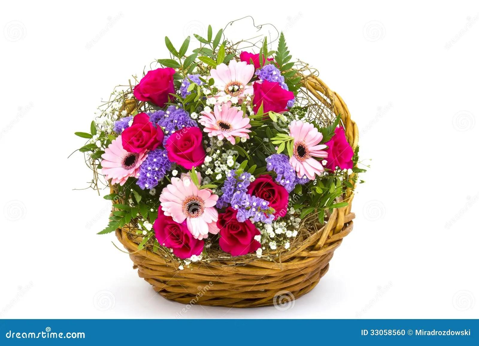 Bunte Blumen In Einem Korb Stockfoto  Bild 33058560