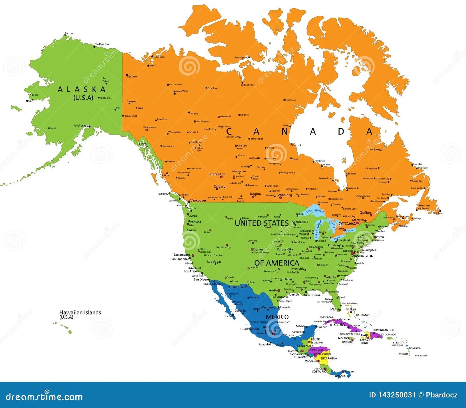 Bunte Politische Karte Nordamerikas Mit Den Offenbar