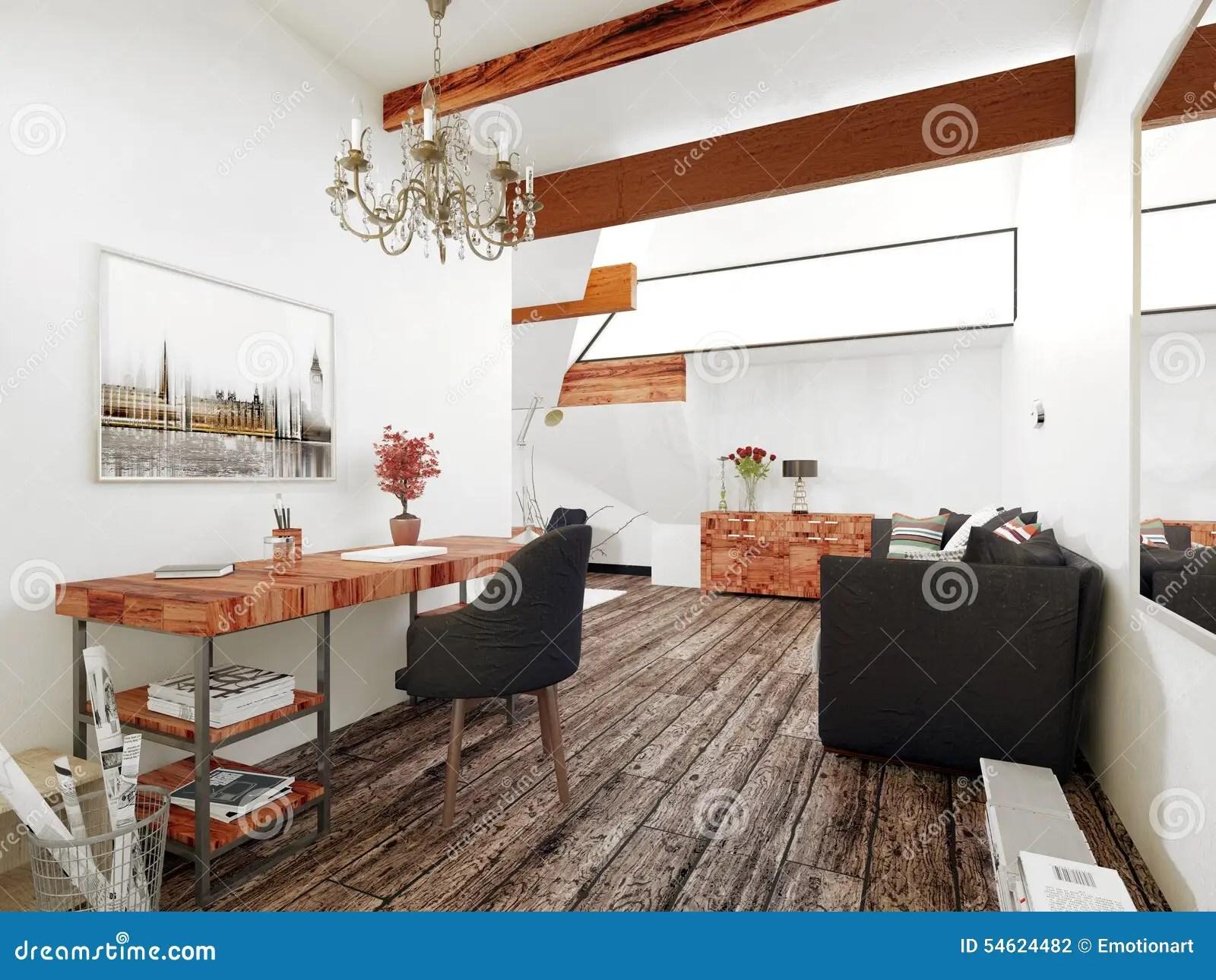 Klein bureau woonkamer zweeds huis met een minimalistisch
