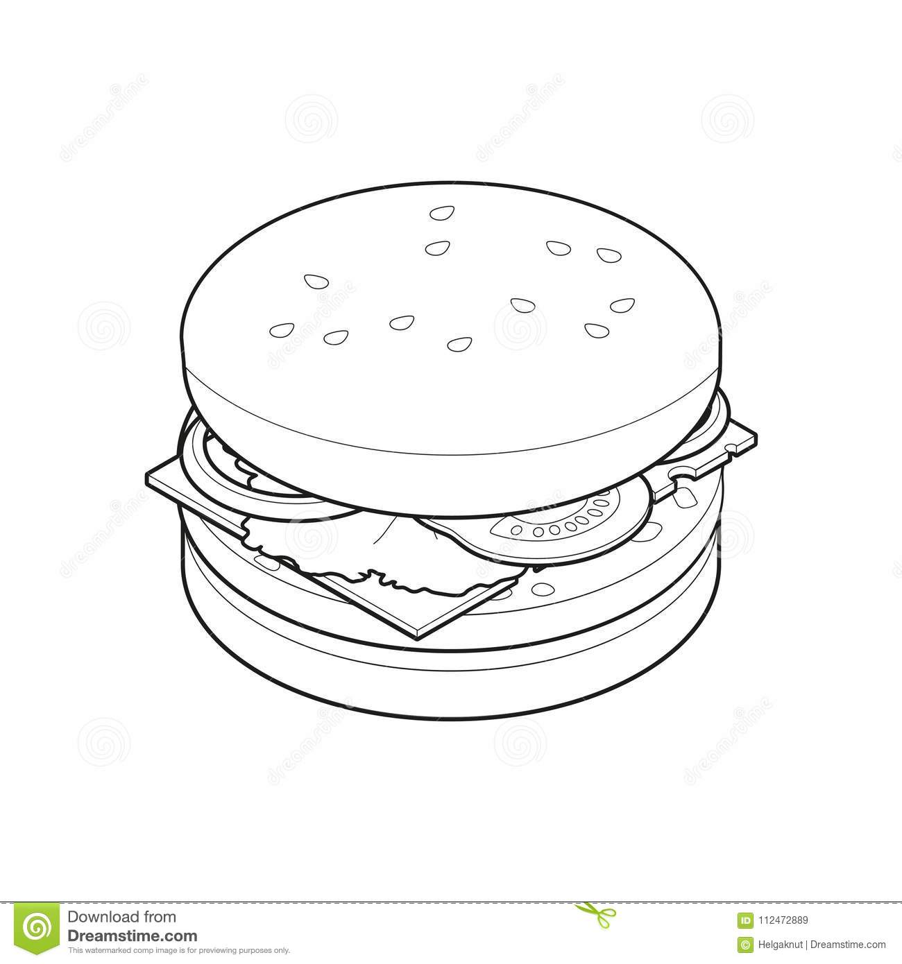 Burger Isometric Coloring Book Concept Unhealthy Food