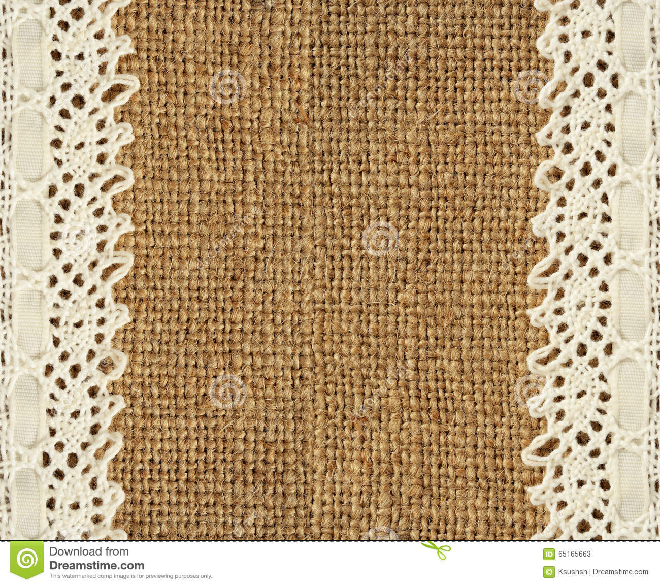 Burlap and lace stock image Image of space brown