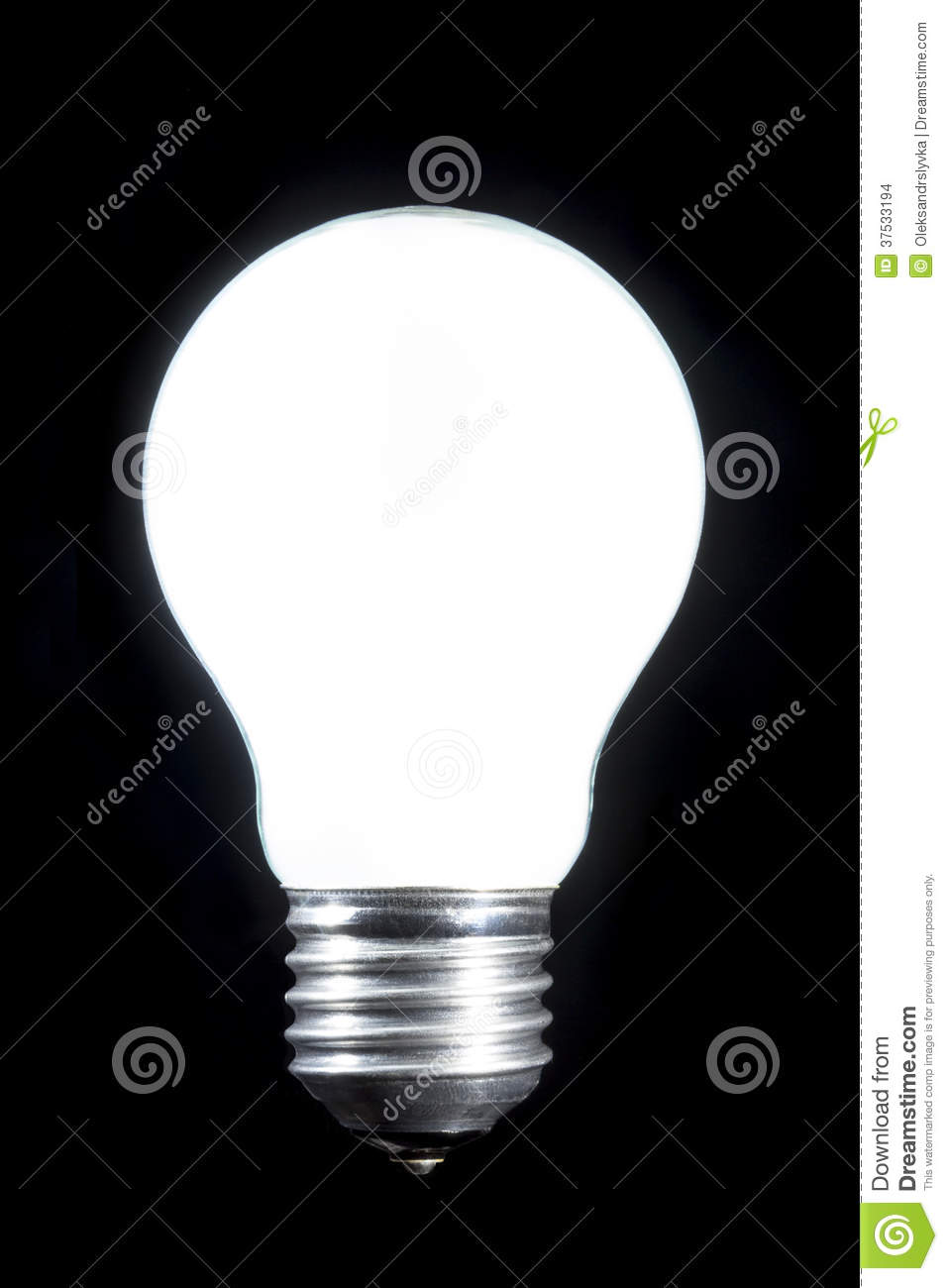 Burning Bright White Light Bulb Stock Photo  Image 37533194