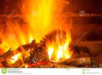 Burning Firewood In Chimney With Pine Cones Royalty Free ...