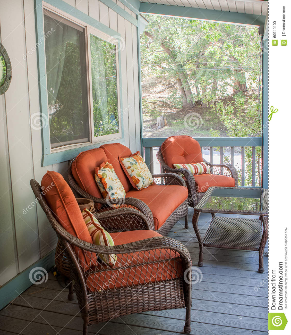 orange outdoor chairs bouncy chair target burnt patio furniture outside on the deck stock