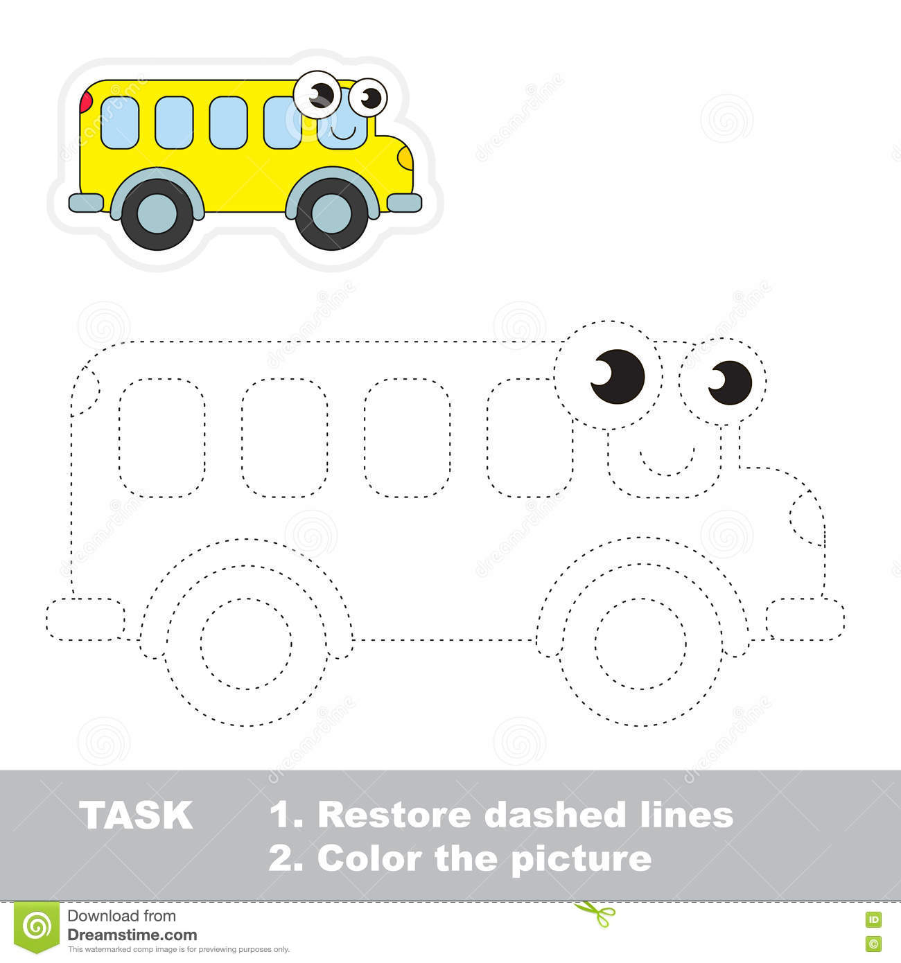 Bus To Be Traced Vector Trace Game Stock Vector