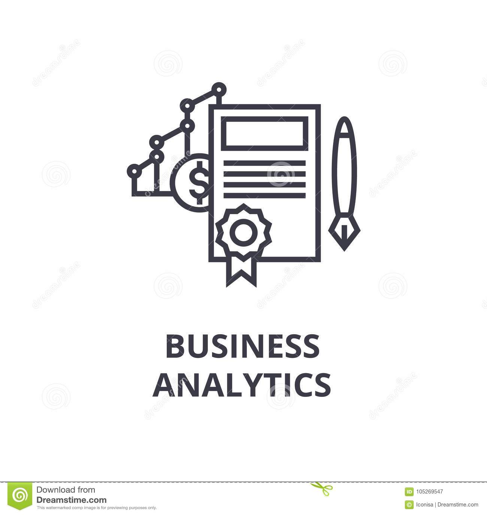 Businessytics Line Icon Outline Sign Linear Symbol Vector Flat Illustration Stock Image