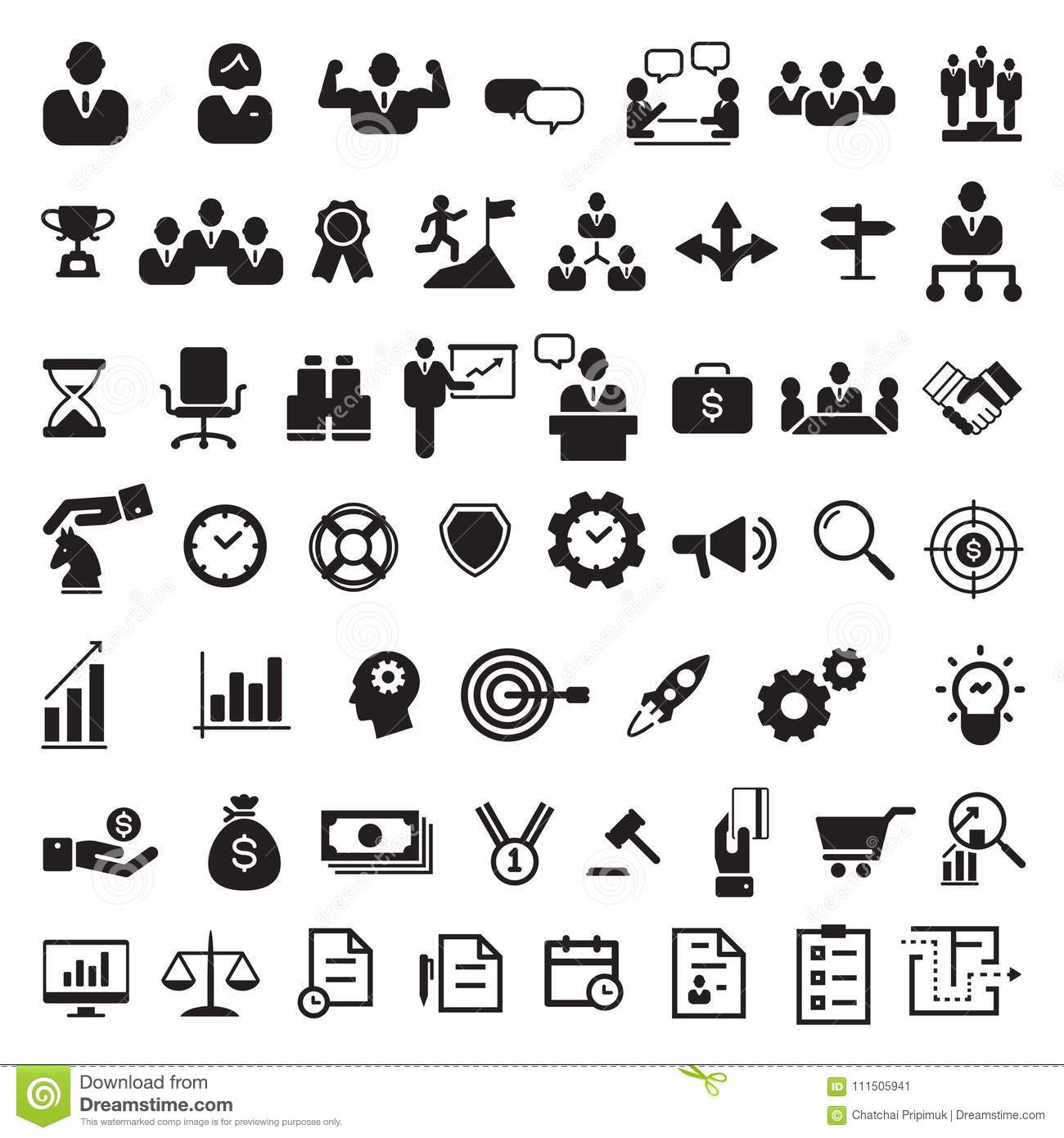 Business Black Icon Set Vector Stock Vector