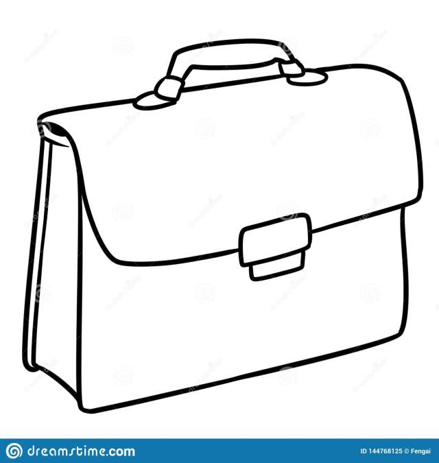Business Briefcase Bag Cartoon Illustration Coloring Page Stock