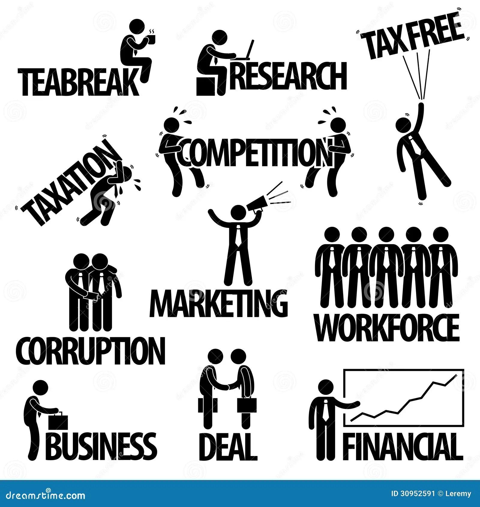 Business Businessman Text Concept Pictogram Stock Vector