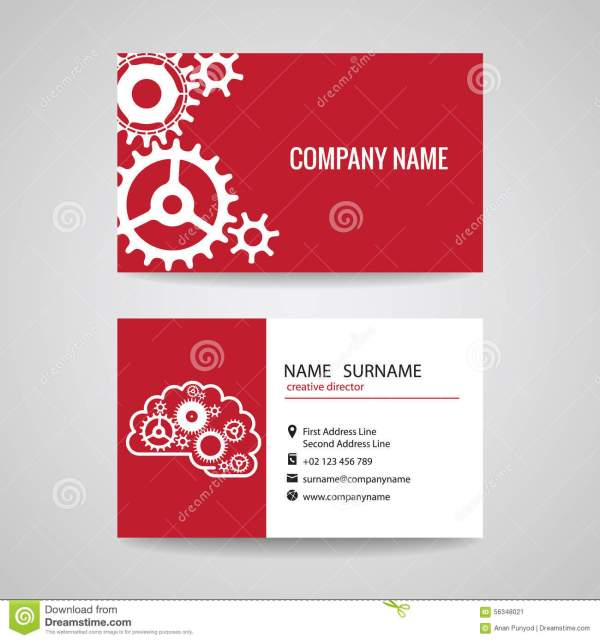 Business Card Gear Idea Engineer And Mechanical Stock