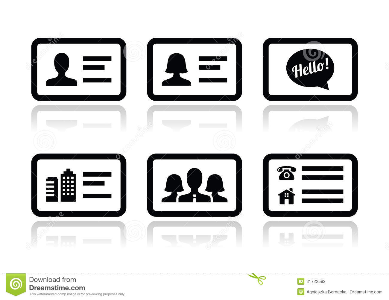 Business Card Icons Set Stock Photo Image Of Branding