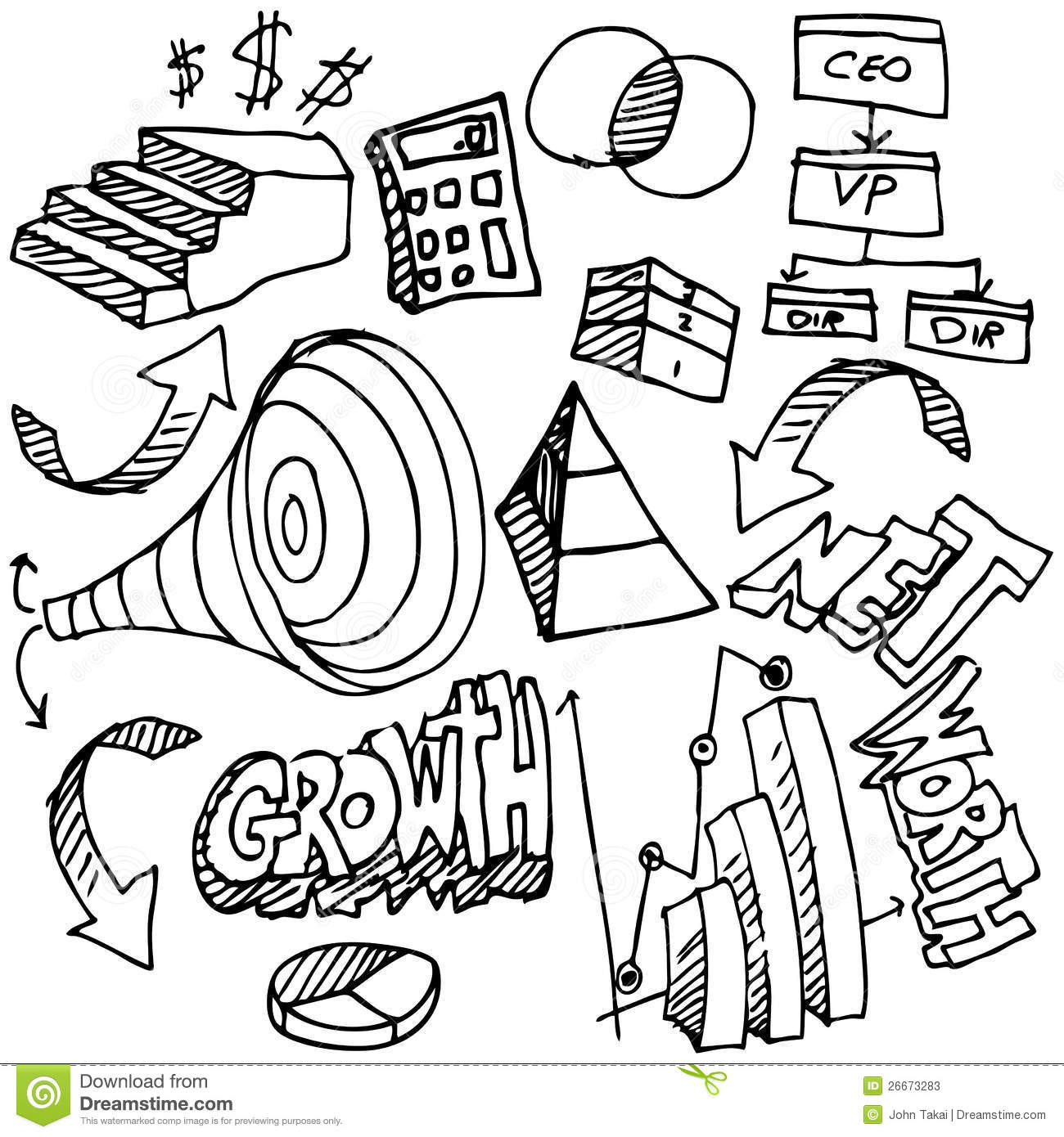 Business Chart Drawing Set stock vector. Illustration of