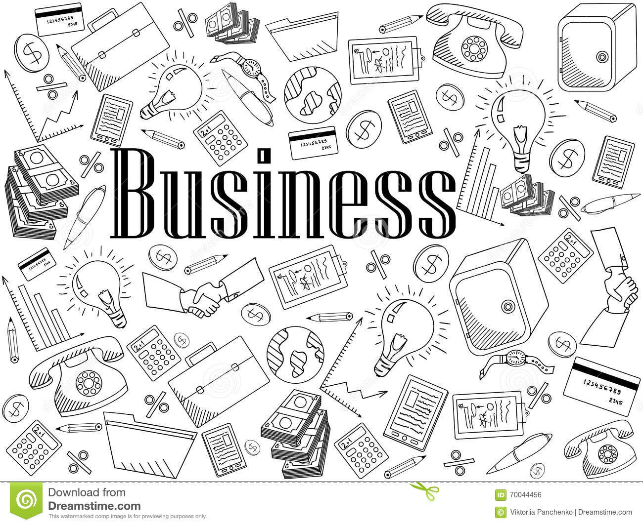 Business Coloring Book Vector Illustration Stock Vector