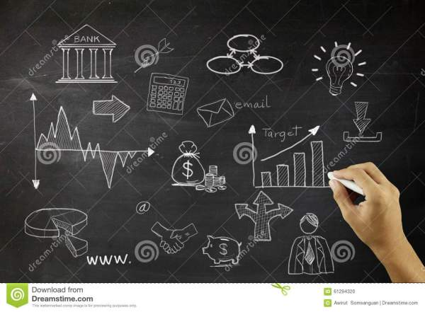 Drawing Business Concept Idea Black Board Background